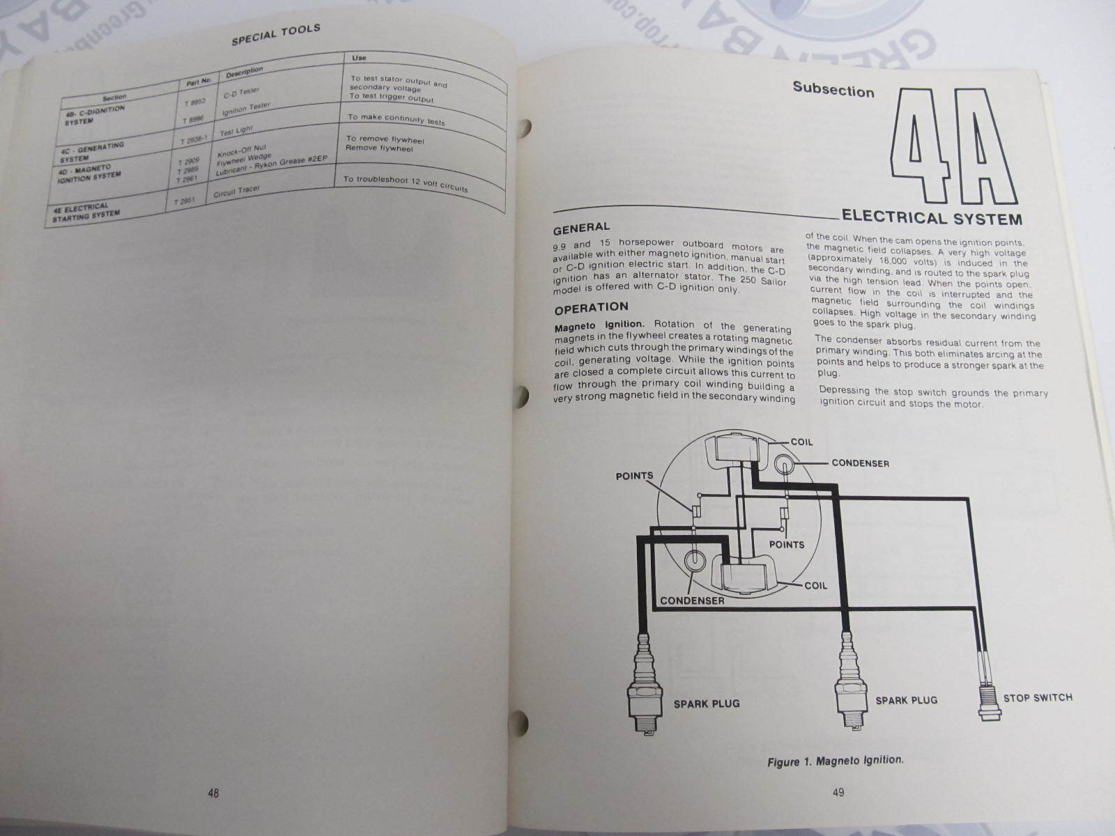... OB3869 Mercury Force Chrysler Outboard Service Manual 9.9/15 HP 250  Sailor
