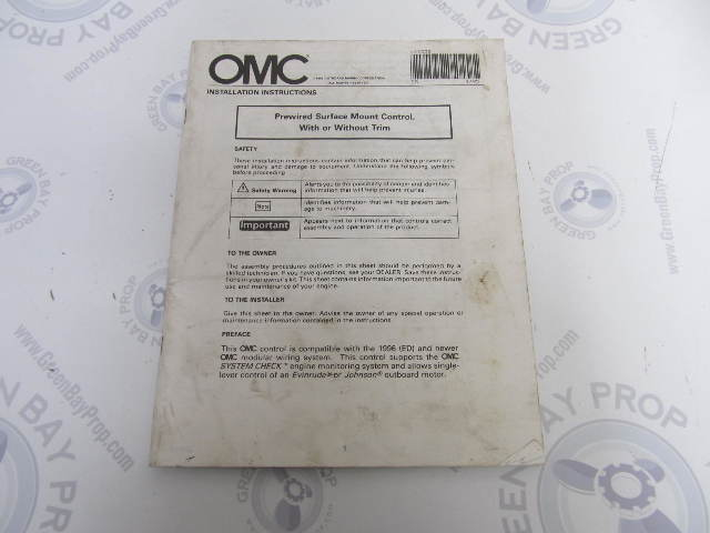 127335 OMC Evinrude Johnson Surface Mount Remote Control Installation  Instructions