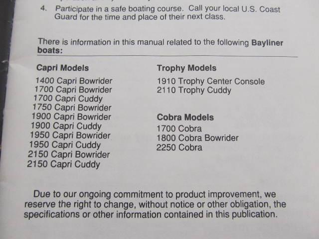 22067 bayliner capri cobra trophy boat owner s manual ebay rh ebay ie bayliner trophy parts manual bayliner trophy 2052 owners manual