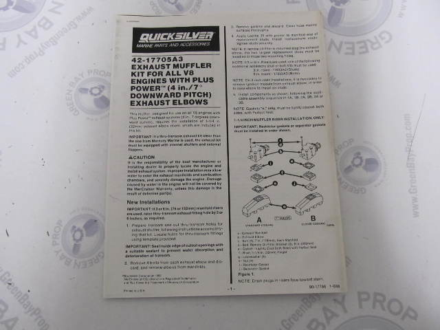 90-17786 Quicksilver V8 Exhaust Muffler 42-17705A3 Installation Instructions 1988
