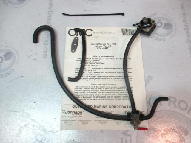0434791 OMC Evinrude Johnson 3 Way Fuel Selector Valve Kit & Pump 1991-1997