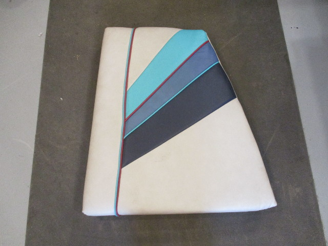 Boat Right Bow Seat Cushion for 1988 Bayliner Capri Gray & Blue Vinyl