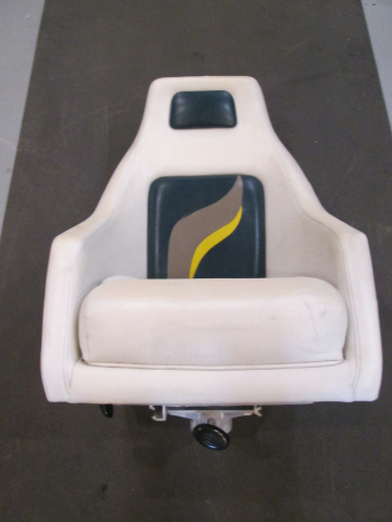 2001 Euroline Twister Boat Driver Captains Chair White/Green/Tan/Yellow