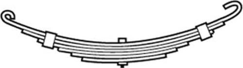 """BOAT TRAILER OPEN EYE SLIPPER SPRING-3 Leaf, 1725#, A=3.50"""", B=26.25"""""""