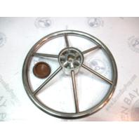 "Vintage Ride Guide Stainless Boat Steering Wheel 6 Spoke Square Shaft 14 3/4"""