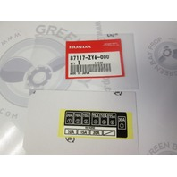 87117-ZY6-000 Honda Outboard Fuse Panel Label