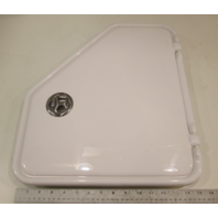 White Angled Plastic Marine Boat Access Door Non-Locking Port Side