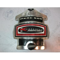 Mercury Kiekhaefer Merc 500 50 HP Silver/Black/Red Front Cowl Cover Plaque