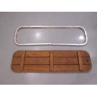 "Teak Wood Boat Floor Deck Ski Hatch Cover & Aluminum Frame 41 5/8"" x 11 5/8"""