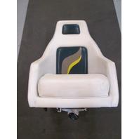 2001 Euroline Twister Driver Captains Chair White/Green/Tan/Yellow