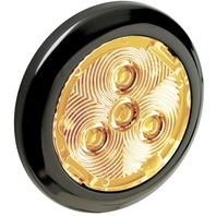 "2.75"" ROUND INTERIOR LIGHT-Black Plastic Bezel w/Amber LED"