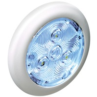 "2.75"" ROUND INTERIOR LIGHT-White Plastic Bezel w/Blue LED"