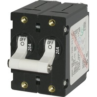 A-SERIES DOUBLE POLE WHITE TOGGLE SWITCH CIRCUIT BREAKER-20A