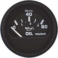 """EURO SERIES GAUGE, BLACK-2"""" Oil Pressure Gauge, 80 PSI"""