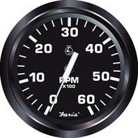 """EURO SERIES GAUGE, BLACK-4"""" Tachometer, 6K, Gas Inboard & I/O"""