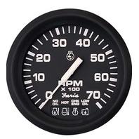 "EURO SERIES GAUGE, BLACK-4"" Tachometer, 7K w/ System Check"