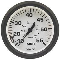 "EURO SERIES GAUGE, WHITE-4"" Speedometer, 55 MPH"