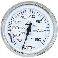 """33811 CHESAPEAKE SERIES GAUGE, WHITE/SS 4"""" 60 MPH Speedometer"""