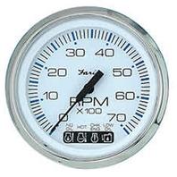 "CHESAPEAKE SERIES GAUGE, WHITE/SS-4"" Tachometer, 7K w/ System Check"