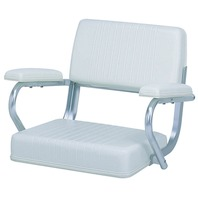 WHITE PILOT SEAT WITH SEAMLESS CUSHIONS for Pontoons & Cruisers