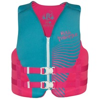 "FULL THROTTLE RAPID DRY VEST-Youth 24-29"", 50-90 lbs, Pink/Aqua Life Jacket"