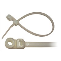 "NYLON CABLE TIE WITH MOUNTING HOLE, NATURAL-7-1/2""L, #10 Stud Mt, 50 lb Tensile Str., Pkg of 25"