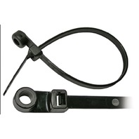 """BLACK NYLON CABLE TIE WITH MOUNTING HOLE-11""""L, #10 Stud Mt, 50 lb Tensile Str., Pkg of 50"""
