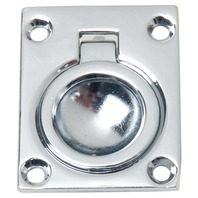 "CHROME PLATED FLUSH RING PULL-1-3/4"" x 1-3/8"", Uses #6 Fasteners"