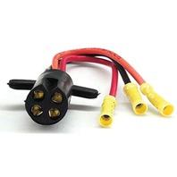 V-GROOVE TROLLING MOTOR PLUG-3-Wire Plug, 10 Ga. w/Butt Connectors