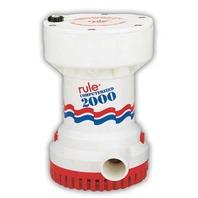 "RULE HEAVY DUTY AUTOMATIC BILGE PUMP-2000 GPH, 1-1/8"" Discharge Outlet"