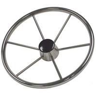 STAINLESS STEEL DESTROYER STYLE STEERING WHEEL, 6-Spoke w/Black Plastic Cap
