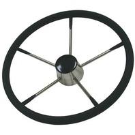 "STEERING WHEEL-Stainless Steel w/Foam Covering Wheel 15"""