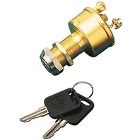 THREE POSITION IGNITION SWITCH, BRASS-Off-Ignition-Start, 3-Screw