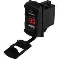 DOUBLE USB ROCKER SWITCH STYLE VOLTMETER W/ HIDDEN DISPLAY-Dual USB Power Socket