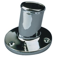 "ANGLED FLAGPOLE SOCKET, CHROME-3/4"" I.D., 1-3/4""L, Chrome Plated Brass"