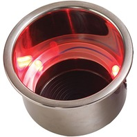 LED FLUSH MOUNT COMBO DRINK HOLDER WITH DRAIN FITTING-Drink Holder w/3 Red LEDs