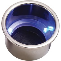 LED FLUSH MOUNT COMBO DRINK HOLDER WITH DRAIN FITTING-Drink Holder w/3 Blue LEDs
