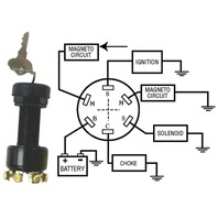 IGNITION SWITCH, LONG, 3-POSITION MAGNETO-Off-Run-Start, Push to Choke