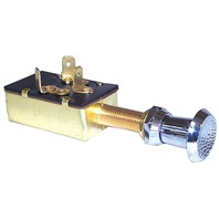 "PUSH-PULL SWITCH, THREE POSITION-Off-On-On, 3 Male 1/4"" Blade Terminals, SPDT"