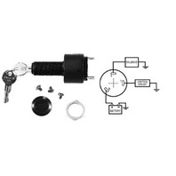 """IGNITION SWITCH, 3-POSITION WITH CAP-Off-Run-Start Switch w/3-1/4"""" Blade Terminals"""