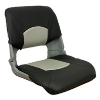 SKIPPER DELUXE MOLDED FOLD DOWN BOAT SEAT-Molded Seat w/Cushions, Gray/Charcoal
