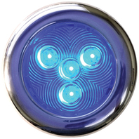 """STAINLESS STEEL LED PUCK LIGHT-3"""" dia. SS Puck Light with 4 Blue LEDs Boat Light"""