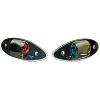 SHARK EYE SIDE LIGHTS-Shark Eye Lights, Pair Boat Bow Lights Red/Green
