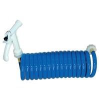 WASHDOWN STATION Coiled Hose, 15' Blue, w/Pistol Grip Nozzle