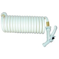 WASHDOWN STATION Coiled Hose Only, 15' White, w/Pistol Grip Nozzle