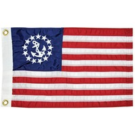 SEWN NYLON  US YACHT FLAGS-12 x 18 U.S.Yacht Flag