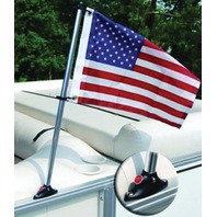 "PONTOON RAIL MOUNT FLAG KIT-Pontoon Flag Pole Kit w/24"" Pole, 12"" x 18"" US Flag"