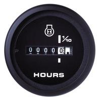 """AMEGA  SIGNATURE SERIES GAUGE-2"""" Hourmeter Black Dial"""