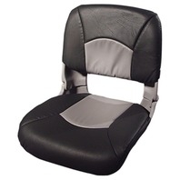 ALL WEATHER HIGH BACK BOAT SEAT WITH CUSHIONS, Gray/Charcoal