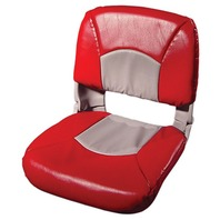 ALL WEATHER HIGH BACK BOAT SEAT WITH CUSHIONS-Seat and Cushion Set Gray/Red